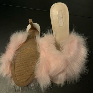 Shoes - Pink furry heels